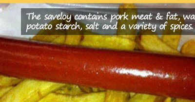 What are saveloy skins made of?
